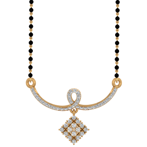 Gold & Glimmer Mangalsutra With Black Beads Gold Chain