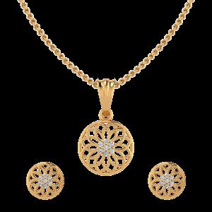 Fantastic Flower Diamond Pendant Set