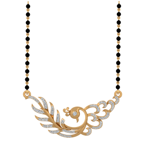 The Stunning Flow Mangalsutra With Black Beads Gold Chain