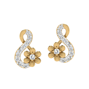 Flower & Love Diamond Stud Earrings