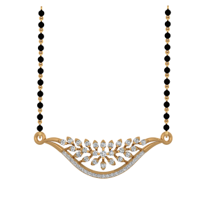 The Floral Lush Mangalsutra With Black Beads Gold Chain