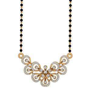 Floral Feather Mangalsutra With Black Beads Gold Chain