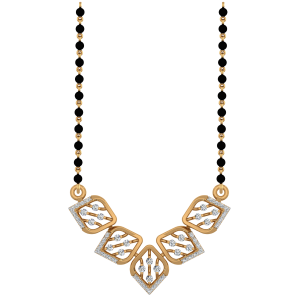 The Exquisite Mangalsutra With Black Beads Gold Chain.