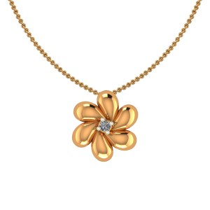 Awesome Gold Flower Diamond Pendant