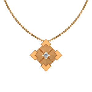 Golden Square Diamond Pendant