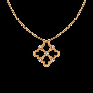 Floral Allure Gold Diamond Pendant