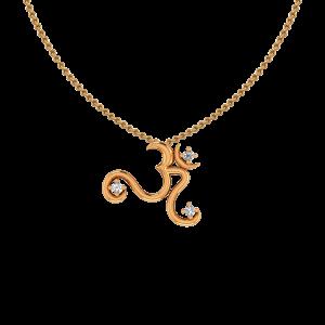 Auspicious Om Gold Diamond Pendant