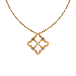 Golden Tracery Gold Diamond Pendant