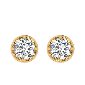 A Quarter Carats Solitaire Diamond Earrings Studs