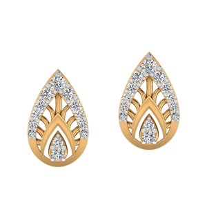 The Leafy Pose Diamond Stud Earrings
