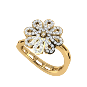 Floral Frame Diamond Cluster Ring