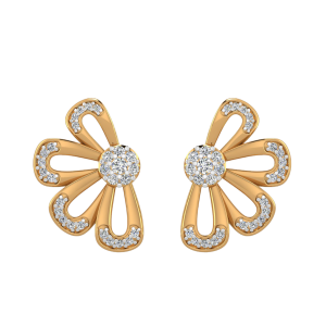 The Floral Shadow Diamond Stud Earrings