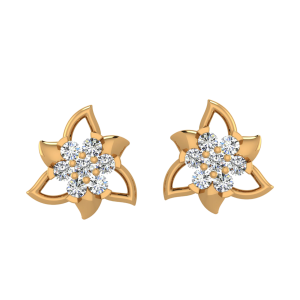 The Floral Whirl Diamond Stud Earrings