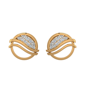 The Golden Ripple Diamond Stud Earrings