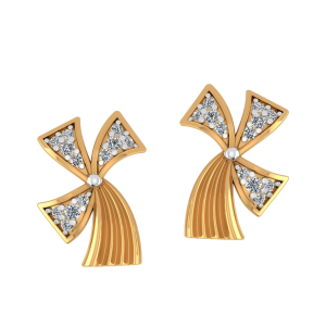 Wavy Horizons Diamond Stud Earrings