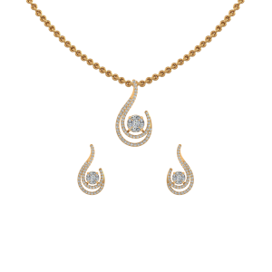 Stunning Drop Diamond Pendant Set