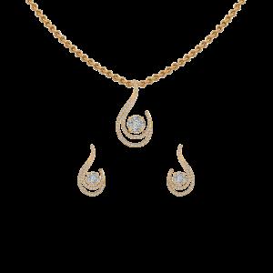 Stunning Drop Diamond Pendant Set