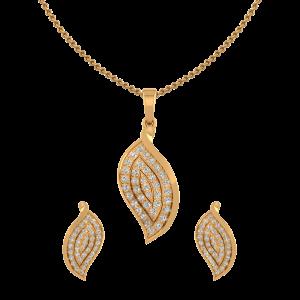 Leafy Suave Diamond Pendant Set