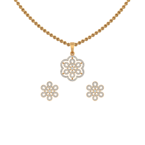 The Floral Maze Diamond Pendant Set