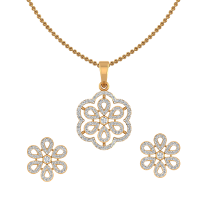 The Floral Suave Diamond Pendant Set