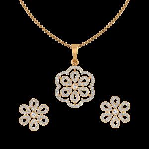 The Floral Suave Diamond Pendant Set