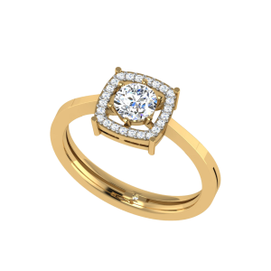 Round Floating Halo Solitaire Ring
