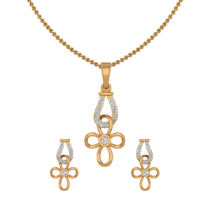 Golden Folds Diamond Pendant Set