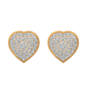 Love Filled Heart Diamond Stud Earrings