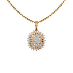 Elegant Oval Diamond Pendant