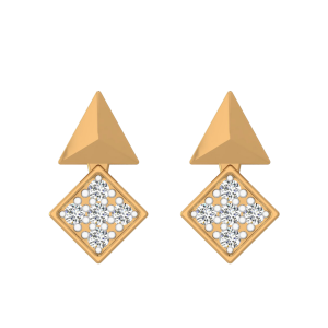 Geometrical Incarnation Diamond Stud Earrings