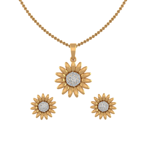 The Sunflower Diamond Pendant Set