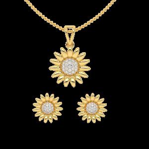 The Sunflower Diamond Pendant Set