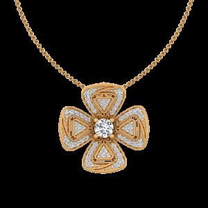 Geometrical Touch Diamond Floral Pendant