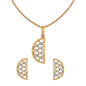 The Half Moon Diamond Pendant Set