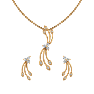 Golden Dimension Diamond Pendant Set