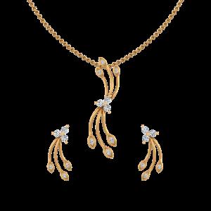 Golden Dimension Diamond Pendant Set
