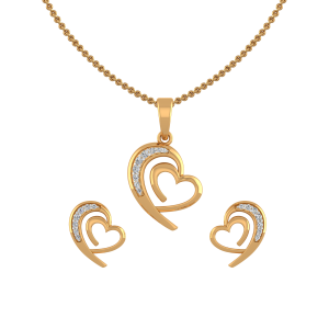 Romantic Hearts Diamond Pendant Set