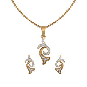 Double Magnolia Diamond Pendant Set