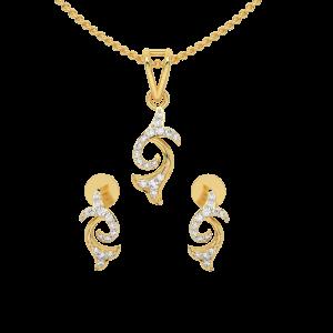 Double Magnolia Diamond Pendant Set