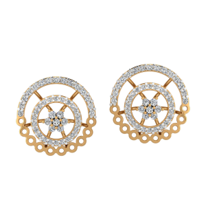 Wheel Of Twist Diamond Stud Earrings