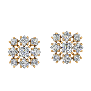 The Chequered Brilliance Diamond Stud Earrings