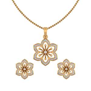 Tuck A Flower Diamond Pendant Set