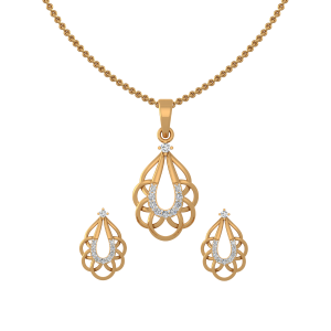 Blossom Drop Diamond Pendant Set