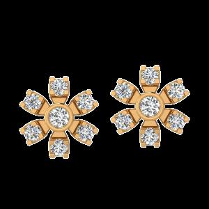 Divine Bloom Diamond Stud Earrings