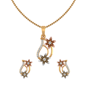 Floral Parade Diamond Pendant Set