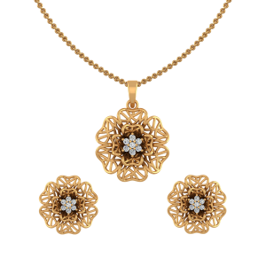 Floral Mesh Diamond Pendant Set