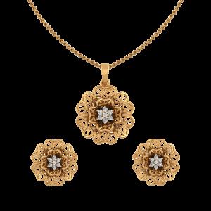 Floral Mesh Diamond Pendant Set