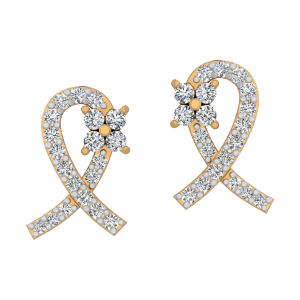 Ribbon Redefined Diamond Stud Earrings
