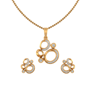 Golden Sparklers Diamond Pendant Set