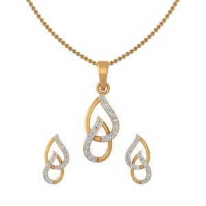 Drop Dainty Diamond Pendant Set